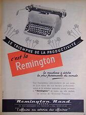 PUBLICITÉ REMINGTON MACHINE A ÉCRIRE LE TRIOMPHE DE LA PRODUCTIVITÉ