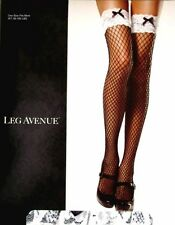 SPANDEX LACE TOP INDUSTRIAL NET Wide Fishnet Stockings w/ BOWS BLACK/WHITE O/S