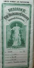 Vintage Life Insurance Policy 1911 Reliance Life of Pittsburgh No. 35838