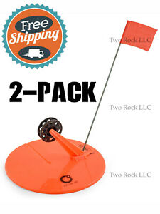 "2-PACK - 10"" ROUND TIP UP w/ LINE - hole cover Ice Fishing - ORANGE"