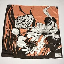 Vtg Jean Olaix Silk Scarf Brown/Pink Floral Print Hand Rolled Daix