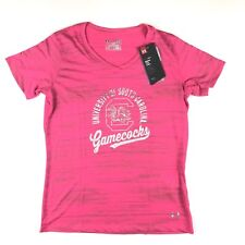 Under Armour SC Gamecocks Tee Shirt Girls Youth M Pink Heat Gear SS V Neck NWT