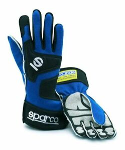 FIA Sparco Tide Racing Rally Gloves Blue XS Fire Resistant 001351NV08AZ STOCK 21