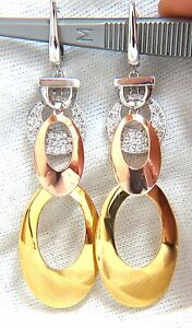 80CT NATURAL DIAMONDS DANGLE EARRINGS TRICOLOR 3D 4 TIER HIGH SHINE+