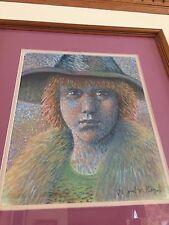 Original Color PORTRAIT OF WOMAN JOSEF KOZAK Drawing Custom Matted Framed Signed