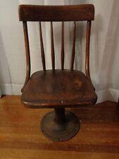 Vtg c1896 Boston Adjustable Child Desk Chair, Iron & Wood Grammar School