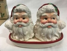 Santa Claus Salt & Pepper Shakers W/Tray Cracker Barrel Christmas In The Woods