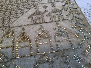 Vintage Assuit, Assiut Embroidered Metallic Silver Mesh Egyptian Shawl