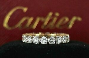 $24,300 Cartier 18K Yellow Gold 2.95ct Round Diamond Eternity Wedding Band Ring