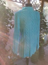 Sweater Turquoise Cable Knit Design  Long Size Small Mfg Cabin Creek