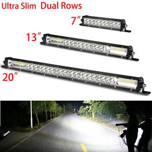 "7"" 13"" 20'' Slim LED Work Light Bar Dual Row Spot Flood Combo Fog Offroad SUV US"