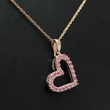 1.00 Ct Round Pink Diamond 18K Rose Gold Over Heart Ladies Pendant Necklace