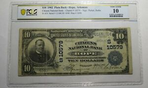 $10 1902 Hope Arkansas AR National Currency Bank Note Bill Ch. #10579 PCGS VG10