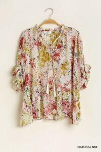 umgee Floral Print V Neck Ruffle Hem top s m l