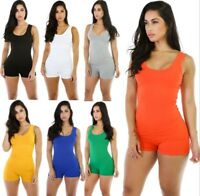 Women's Sleeveless Short Romper Jumpsuit Bodysuit Stretch Leotard Top Blouse New