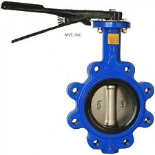 """BUTTERFLY VALVE 2"""" LUG STYLE 200 WOG DUCTILE BODY BRONZE DISC BUNA RUBBER SEAT"""