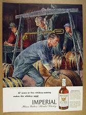 1945 Joseph Hirsch workers weighing barrels art Imperial Whiskey vintage Ad