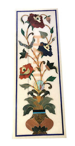 """20""""x40"""" White Marble Side Table Top Handmade Mosaic Floral Inlay Art Decors W561"""