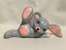 """Handpainted Quilted Ceramic Bunny Rabbit Vintage Large Lying on Side 5""""x9.5"""""""