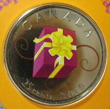 Canada 2010 happy birthday coloured commemorative 25 cent coin beauty!