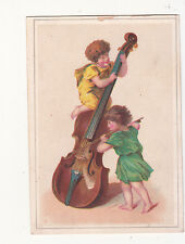 Grecian Nymphs w Cello Instrument Bow No Advertising Vict Card c1880s