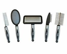 Pet Grooming Kit Slicker Pin Bristle Brush Flea Double Sided Comb Dog Cat Grey