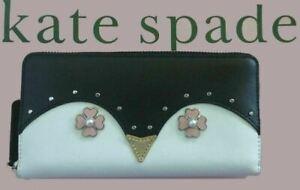 Kate Spade Frosty Penguin Zip Around Leather Wallet Black WLRU5743, NWT