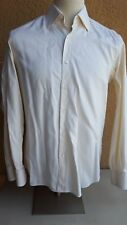 "BRIONI Men's Beige Tonal Striped Ctn Btn Front Tailored Fit LS Shirt 39 15 ½"""