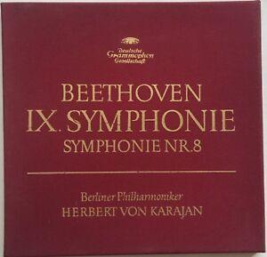 HERBERT VON KARAJAN BEETHOVEN IX.Symphonie Symphonie Nr 8 DGG 2LP Box EX/EX