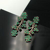 Boucles d'Oreilles Clips Pince Doré Branche Arbre Vert Emeraude Retro Mariage J7