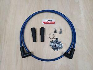 Harley Davidson Sportster Dyna Softail Big Twin Spark Plug Wires Kit Blue Black