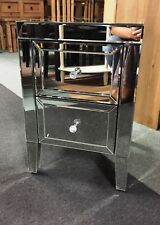 Valencia 2 Drawer Bedside  - Mirrored - Fully Assembled - FREE DELIVERY