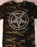 PENTAGRAM T SHIRT Camo Camouflage satanic clothing HEAVY METAL HUNTER 666 S- XL