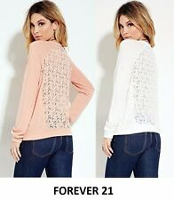 FOREVER 21 Crochet-Back Sweatshirt Long Sleeve New Top Sweater 2 Colors Size S