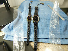 His & Her Genuine Diamond Japan Movement Black-Face quartz watches