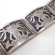 """Vintage Sterling Silver Large Heavy Mexican Scenic Hinged Link Bracelet 7"""""""