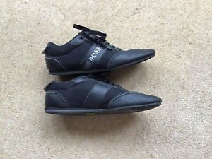 Hugo Boss Trainers Size 9 Black Leather Low Top Lace Up Casual Men's Shoes EU 44