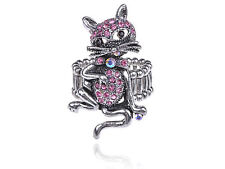 Pewter Silver Cocky Cool Bow Tie Whisker Cat Pink Crystal Rhinestone Ring