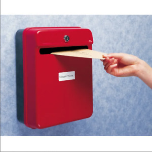 Helix Suggestion & Internal Post Box Red Lockable Container Wall Mountable F5H
