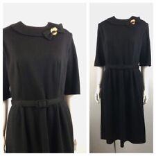 1960s Wool Dress / 60s Black Wiggle Belted Dress Rockabilly / Women's Medium