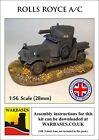 Warbases 28mm Laser Cut WW1 Rolls Royce Armoured Car