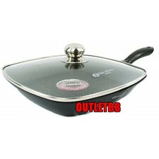 28 CM Grill FRY Pan with Glass Lid Marble coating BIO Nonstick Induction / gas