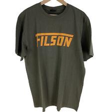 Filson Seattle WA T Shirt Otter Green Spell Out Logo Men's  Large USA Made