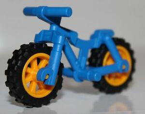 Lego Blue Bicycle Frame Heavy Mountain Bike Bright Light Orange Wheels