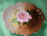 "7"" Leaf Shaped Hand Painted China Vanity or Trinket Dish Made in Japan"