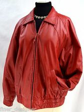 Global Identity G-III Red soft Leather Coat oversize SZ L moto zip bomber jacket