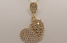 "1.5 CT  SPARKLING  HEART SHAPE PENDANT NECKLACE WITH 18"" CHAIN  SOLID 14K Y GOLD"