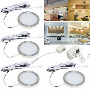 4X Mains Under Cabinet Lights LED Kitchen Lamp Shelf Cupboard Display Lighting