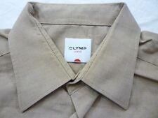 E7884 Olymp Luxor Businesshemd Kombimanschette 42 beige meliert Unifarben Neuw.