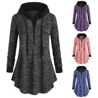 Women Plus Space dyeing Long Sleeve Hooded Sweatshirt Tunic Tops T Shirt Blouse